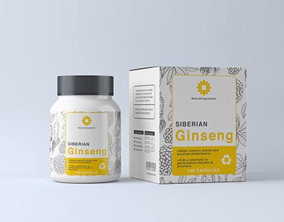 Siberian Ginseng supplement packaging