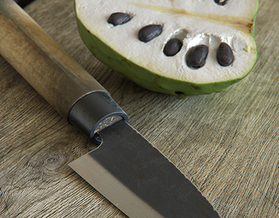 Japanese knife and custard apple