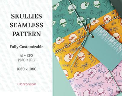 Skullies Floral Seamless Pattern