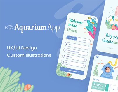Aquarium App - UI/UX Design & Illustration