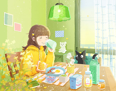 Honey toast morning