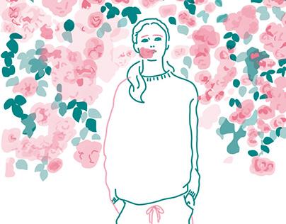 girls illustration for Risograph