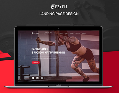 Fitness center design. Landing page