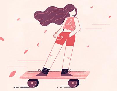 Cherry Blossom Longboard Girl