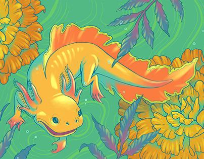 Axolotls & Cempasuchil