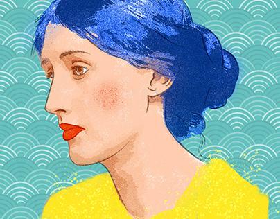 Mujeres brillantes de pelo azul