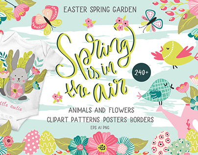 Spring is in the air illustration and clipart bundle