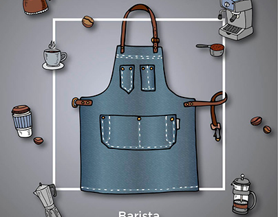 Collection of cute cartoon hand drawn denim aprons!
