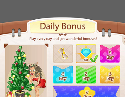 Pop Up Window Daily Bonus For Game UI Cartoon