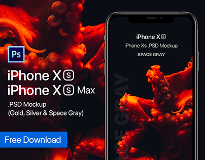 Free Download iPhone Xs & Xs Max PSD Mockup