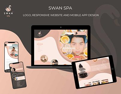 Swan Spa Logo, Responsive Website and Mobile App