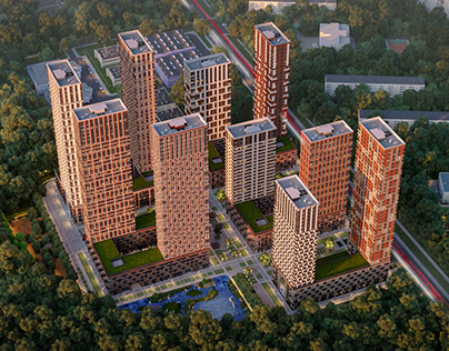 Visualization of a residential complex in Moscow