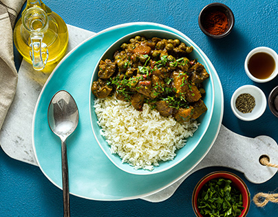 vegetable curry with pumpkin and mushrooms.