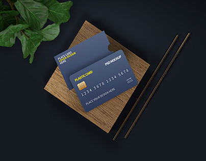 Chipped Plastic Card and Cover Mockup