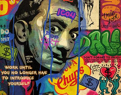 Salvador Dali pop art portrait