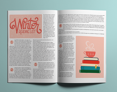 """""""Winter Reading List"""" Editorial Example - Hand Lettered"""