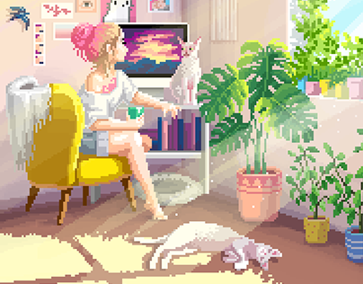 Animated pixel art picture for the artist