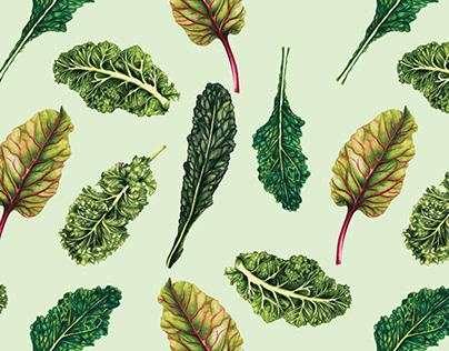 Leafy Greens Watercolour Pattern