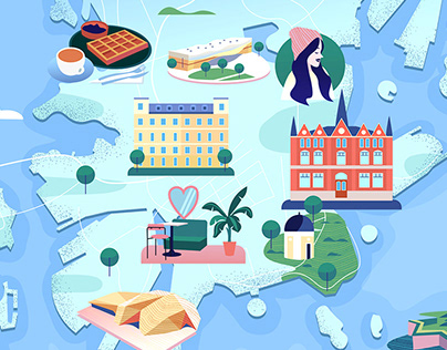 Illustrated maps for KLM Holland Herald magazine