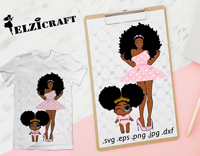 Afro Woman, Mommy and me, Mother and daughter SVG File