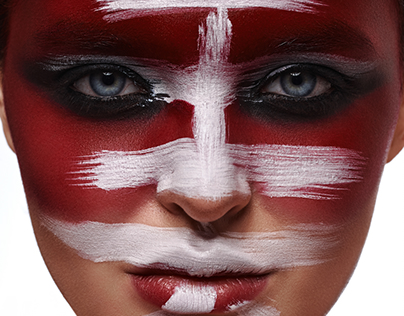 "Japanese word ""Beauty"" on red painted Face of Woman"