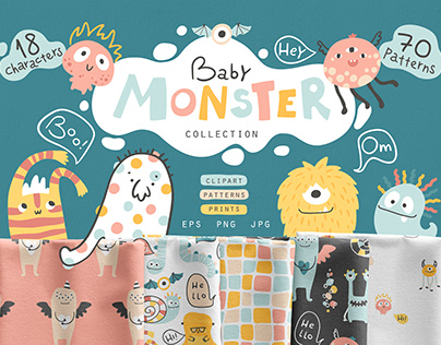 Funny monsters. Patterns collection for babies.
