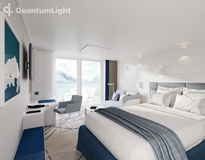 Interior visualizations of a guest cabin of a ship