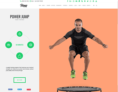 Power Jump Training Page - Fitness WordPress Theme