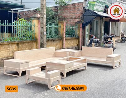 Bộ ghế sofa 2 văng chân quỳ gỗ sồi Nga SG39