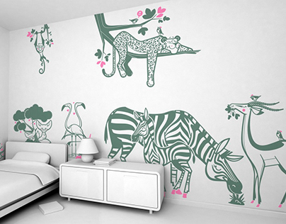 peaceful jungle :: savannah animal kids wall decals