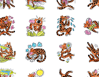 Wild Animals Line Sticker Set