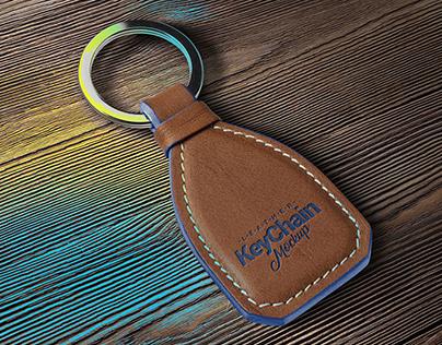Free Leather Keychain Mockup PSD