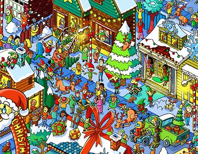 2019 Christmas Illustration for Washington Post