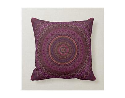 Dark Purple Mandala Pillow