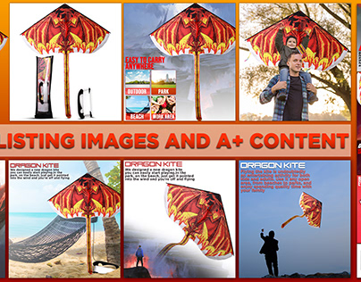 Dragoon kite listing and A+ content images   for amazon