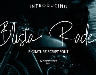 Blista Rade : Signature Script Font
