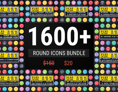 Flat Icon: 1600 Round Icons Bundle | app icons