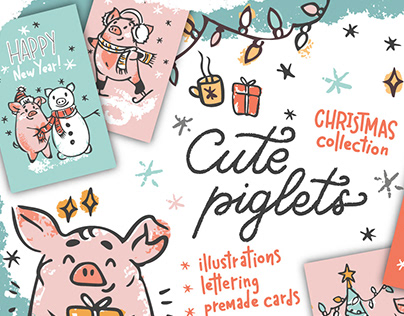 Cute piglets. Christmas collection
