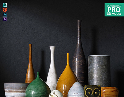 001 PRO 3D MODELS. Vases set.