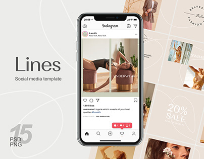Instagram puzzle template - Lines