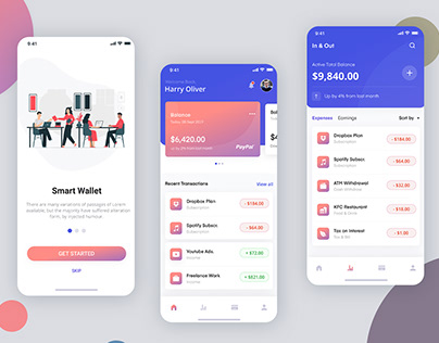 Freelance wallet App Ui Kit Design