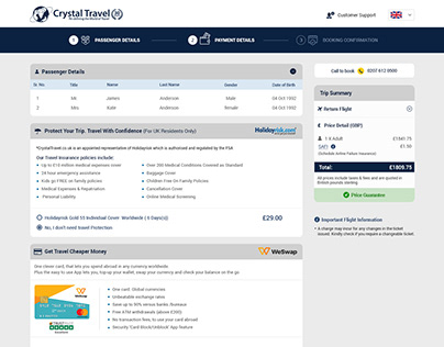 Crystal Travel-Passenger & Payment Web Page