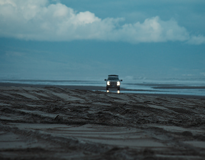 Photoshoot of vehicles on the beach for varios projects