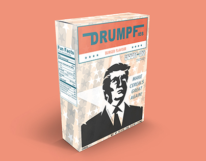 Designed cereal packaging for/against Donald Drumpf.