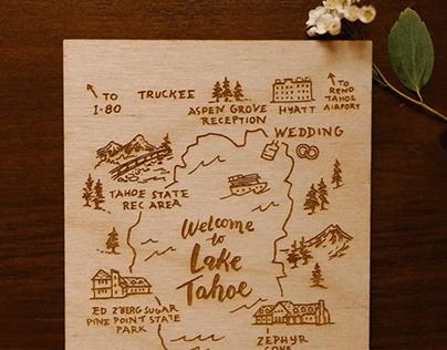 Engraved Map Illustration, Custom Stationery