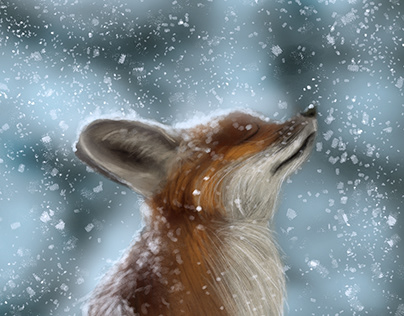 Little Fox In Snow | Quick Painting