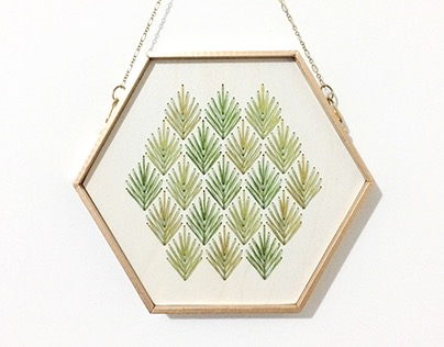 Wood Embroidery: Hexagons