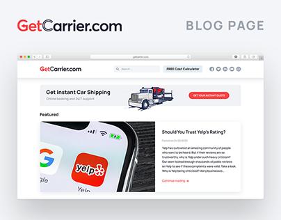 Minimalistic blog page design GetCarrier