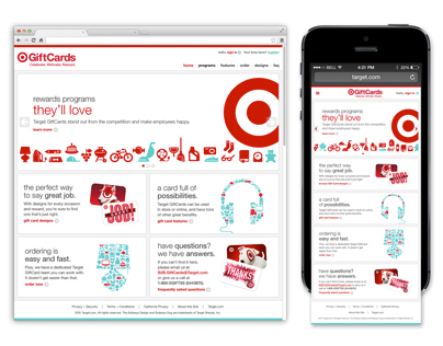 Target Business-to-Business Gift Card Website