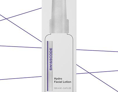 """Swisscode"" Hydro Facial Lotation packaging design"